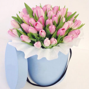 Pink Tulips Hat Box