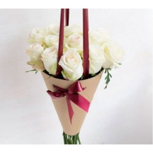 White Roses Cone Bouquet