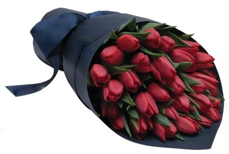 Red Tulips Wrapped in Black