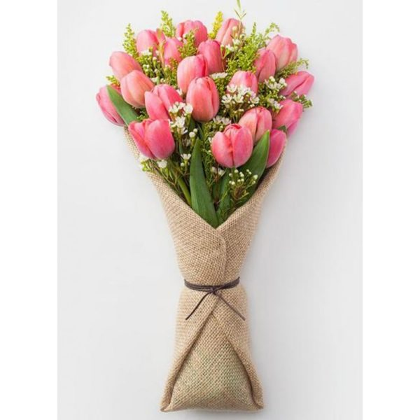19 Pink Tulips Bouquet