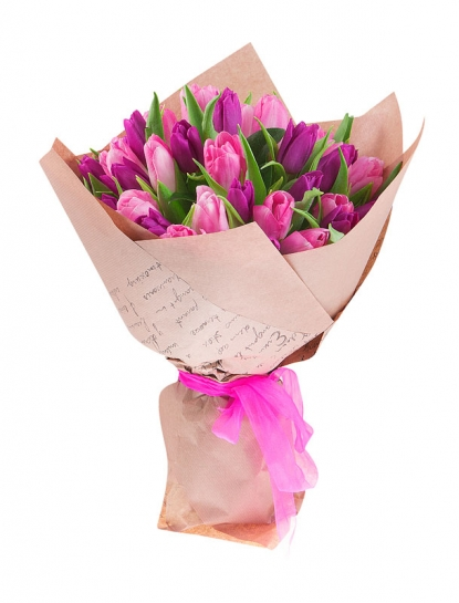 Pink and Purple Tulips Bouquet