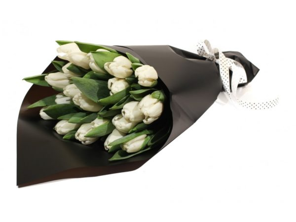 White Tulips Wrapped in Black