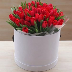 Bright Red Tulips Hat Box