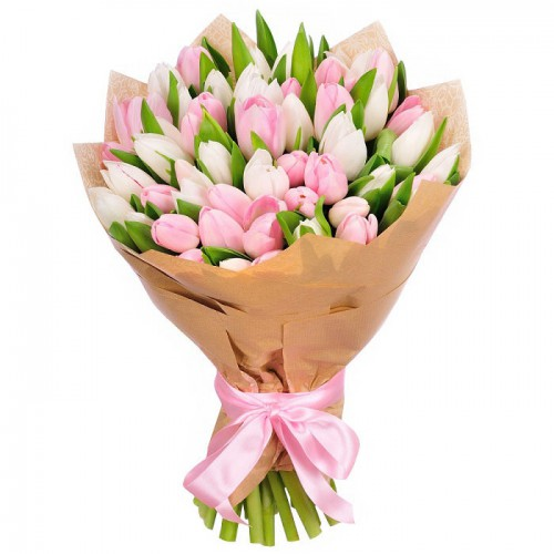 White and Pink Tulips Bouquet
