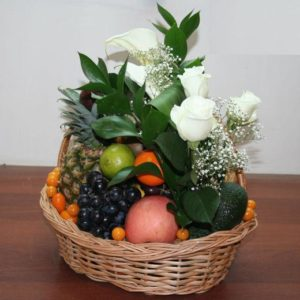 White Roses and Fruit Basket