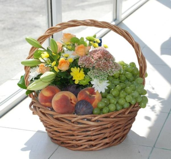 Fragrant Blooms and Fruit Basket