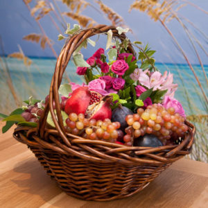 Pink Blooms and Fruit Basket