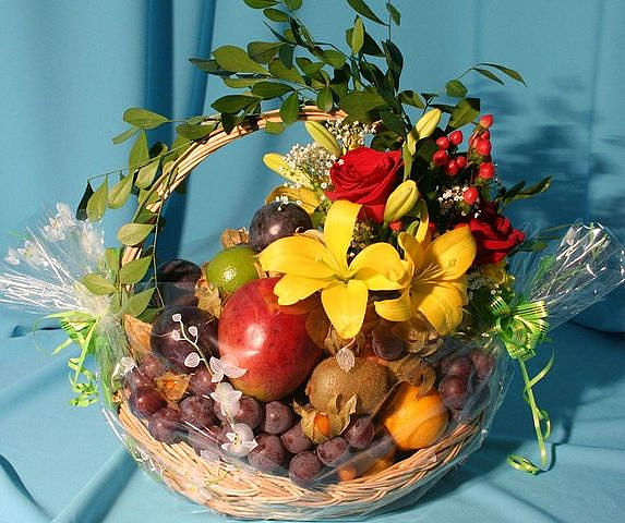 Bright Flowers and Fruit Basket