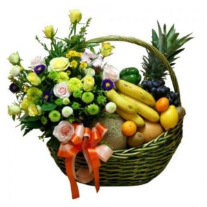 Best Wishes Fruity Floral Basket