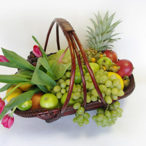 Pink Tulips and Fruit Basket