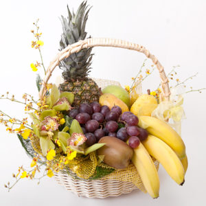 Exotic Orchids and Fruit Basket