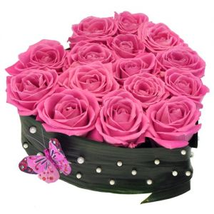 Pink Roses in Black Heart