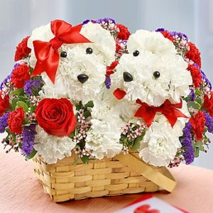 Puppies in Love Basket