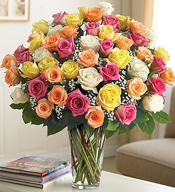 Rainbow 51 Roses Bouquet