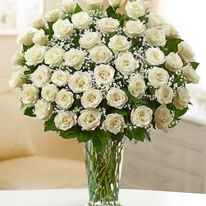 47 White Roses Bouquet