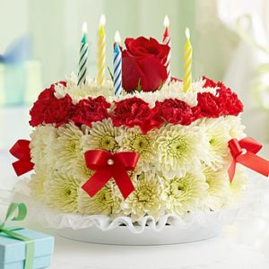 Red and White Flower Cake