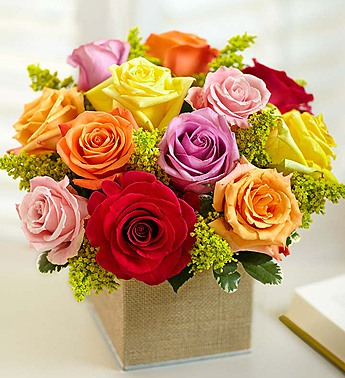 13 Bright Roses Bouquet