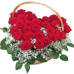 Red Roses Heart Basket