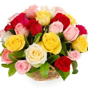 Multicolored Roses Basket