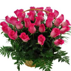 Blooming Pink Roses Basket