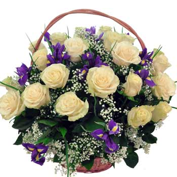 Purple and White Flower Basket