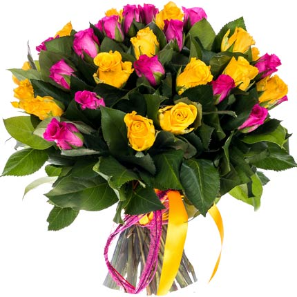 Yellow and Pink Roses Bouquet