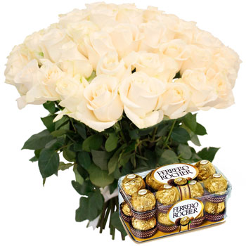 Cream Roses Bouquet and Ferrero