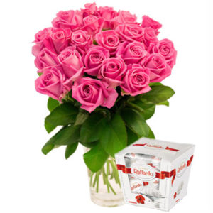 Pink Roses Bouquet and Raffaello