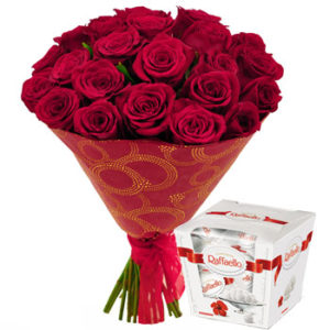 Red Roses Bouquet and Raffaello
