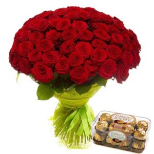 51 Roses Bouquet and Ferrero
