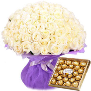 101 White Roses Bouquet and Ferrero