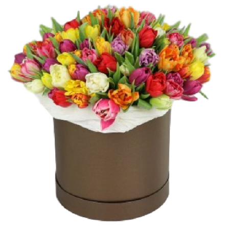 Gorgeous 77 Tulips Hat Box
