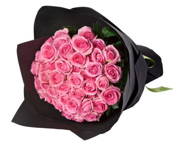 Pink Roses Wrapped in Black