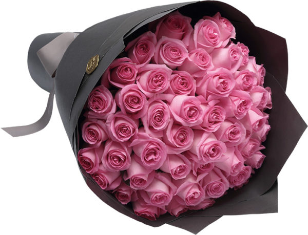 Purple Roses Wrapped in Black
