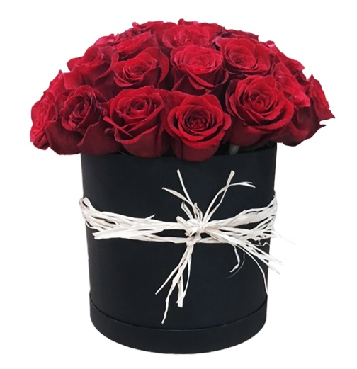 Passion 25 Roses Black Hat Box
