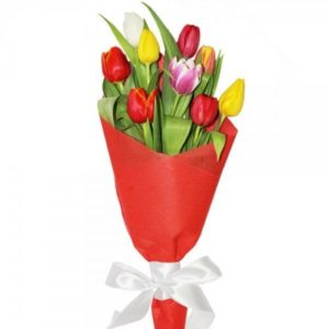 9 Multicolored Tulips Bouquet
