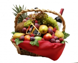 Cheese, Fruit and Wine Basket